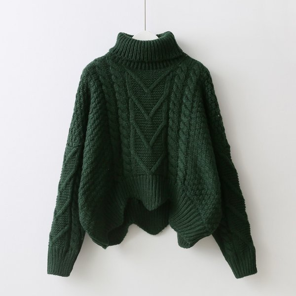 loose collar sweater female short bat sleeves wind rough woolen coat thickening