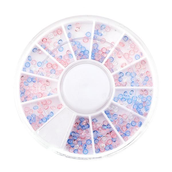 Joyería de uñas Venta al por mayor de color rosa / azul 2mm Punta de diamante alrededor de 360 piezas Cada caja Caja giratoria de 6 cm