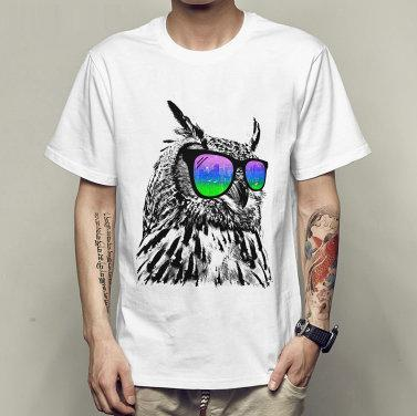 Owl t shirt Sun glasses bird short sleeve tees Sunglasses animal singlet Fastness printing clothing Quality modal Tshirt