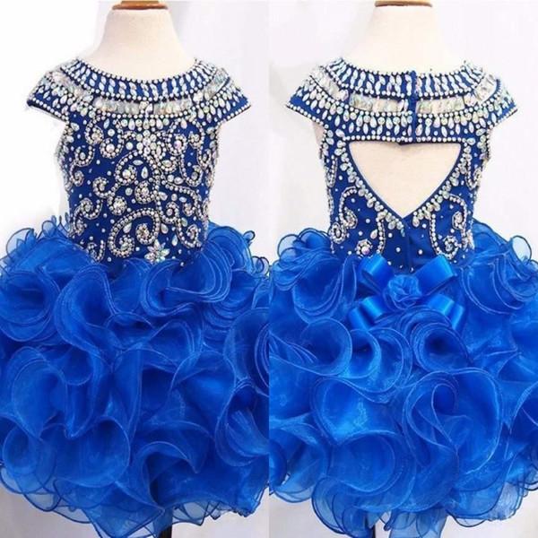 Königsblau Kleinkind Mädchen Pageant Kleider Glänzende Kristall Perlen Mieder Organza Rüschen Rock Kinder Prom Dress Aushöhlen Blumenmädchen Kleid