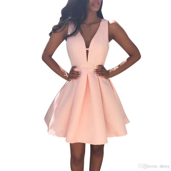 2017 D'été Marque Design Femmes Sexy Sans Manches Col En V Mini Robe Dames De Mode Cocktail Party Robe Plus La taille Vestidos