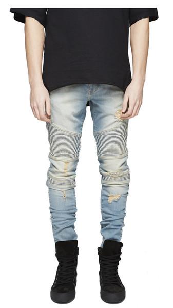 Moda destruida para hombre Slim Denim Biker Jeans rectos Hip Hop Casual hombres largos agujero jeans 28-36