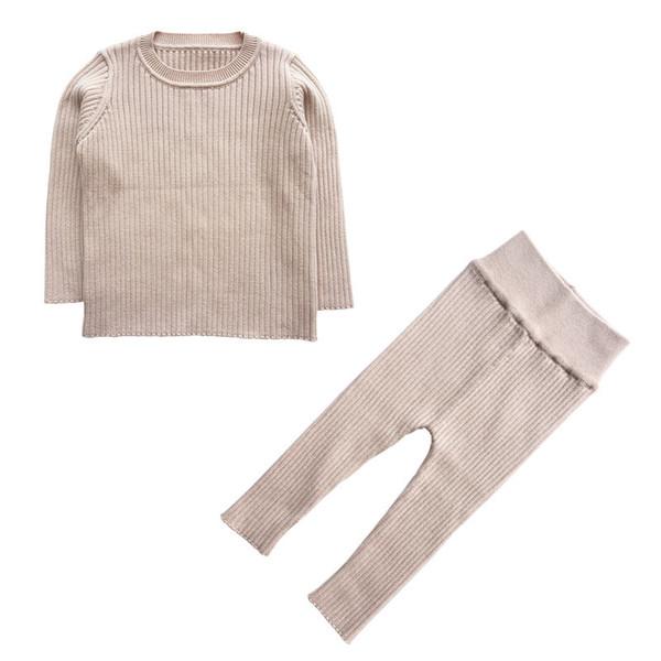 2019 Primavera New 9M-4T Inverno Baby Girl Roupas Set Meninos De Malha Definir Blusas + calças 2 pcs Crianças Vestuário Meninas de Algodão De Malha Ternos