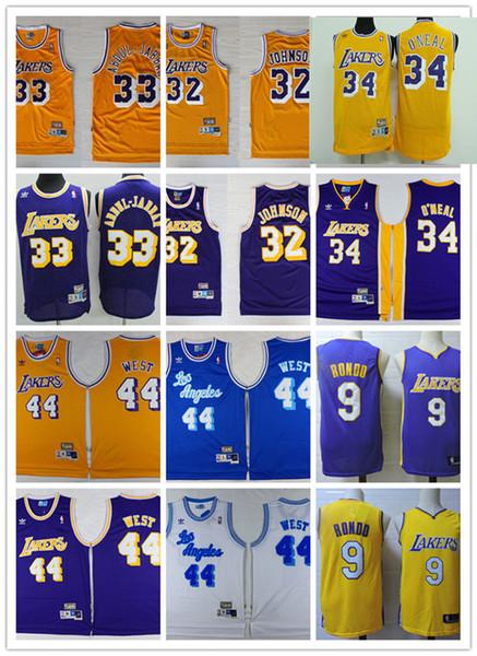 best selling Mens Vintage Los Angeles#32 Magic Johnson #33 Kareem Abdul-Jabbar #34 Shaquille O'Neal Jersey #44 Jerry West Jersey #9 Rajon Rondo Jersey