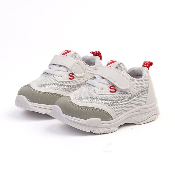 Kids Running Shoes 2019 Spring Children Top Mesh Sneaker Baby Boys White Shoes Girls Fashion Sport Casual Trainer Shoe 1- 4 years