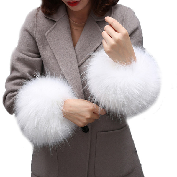 Super huge faux raccoon fur huff fake fur wrist warmer cute coat sleeve decor scarves collar creative hand warmer