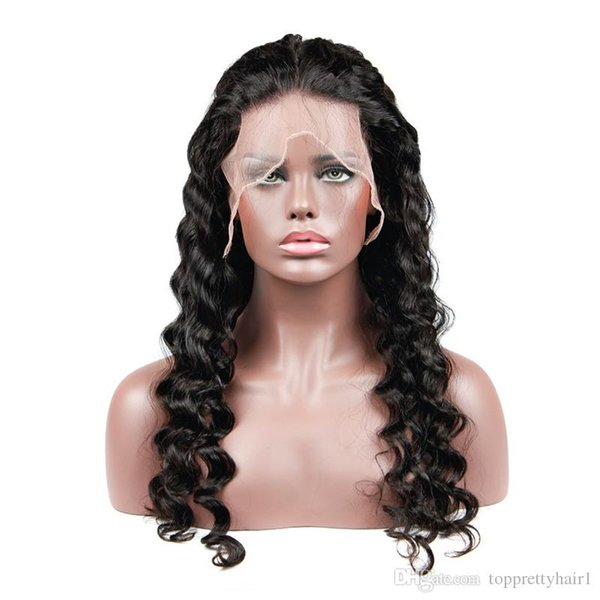 Lace Front Human Hair Wig Loose Wave 150 Density Brazilian Virgin Hair Pre Plucked Full Lace Human Hair Wigs For Black Women