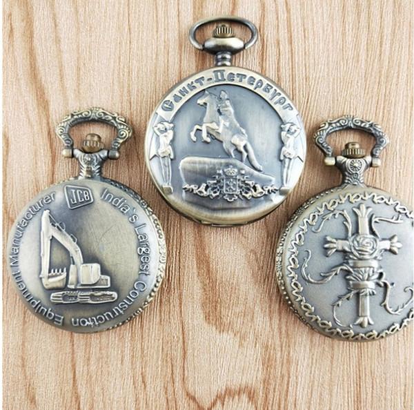 20 unids / lote ventas calientes JCB cross Riding horse Antigüedades de bronce reloj de cuarzo collar de bolsillo relojes de regalo hombres y mujeres