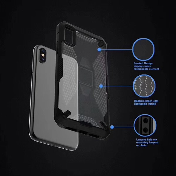 Transparent Clean Armor Case for iphone XS MAX XR XS X 6 8 7 plus Anti Skid Shockproof Silicone Hybrid Armor Case