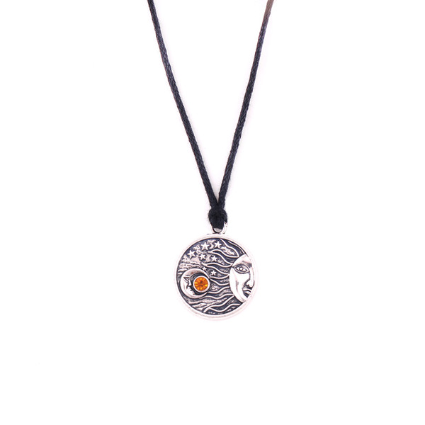 HS08 classic moon sun shape with star design funeral urn religious pendant rope necklace jewelry