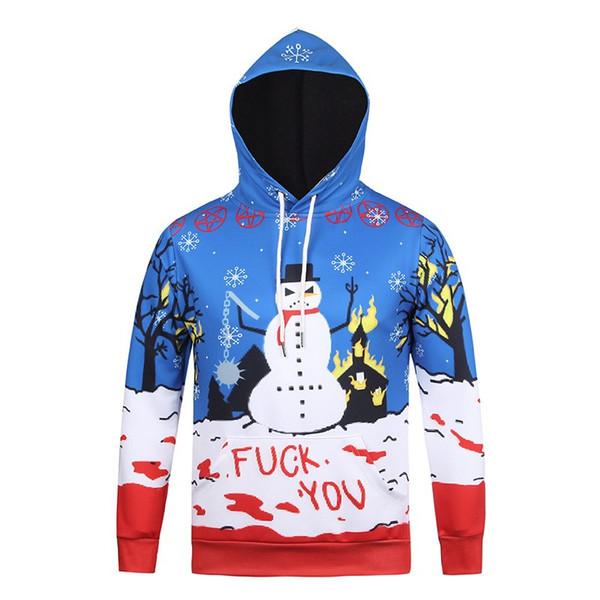 Christmas Sweatshirt Women Hoodies Men's Coat M-3XL 3D Print ELK Cool Santa Claus 2017 Christmas Hoodies
