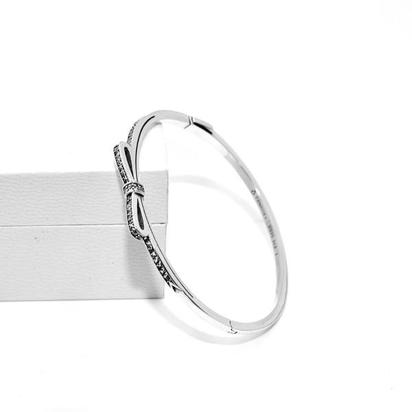 Womens Authentic 925 Sterling Silver CZ Diamond Bow Bracciali Logo originale per Pandora Real Silver Bangle Donna Regali gioielli regalo