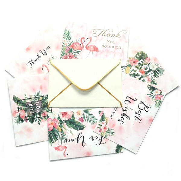 Greeting Cardsincludes Envelope Thank You So Much Best Wishes English Letter Cartoon Flamingo Pattern Invitation Card Beautiful Greeting Cards Best