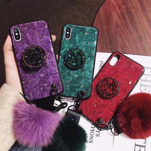 Iphone x mobile phone shell female luxury iphone8plus hair ball rhinestone bracket net red XS max purple shatter-resistant shell