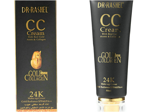 top popular 6pcs DR`RASHEL CREAM 24K GOLD FACE WASH Gold collagen facial beautifying skin Natural block defect Moisturizing naked makeup BB cream 2021