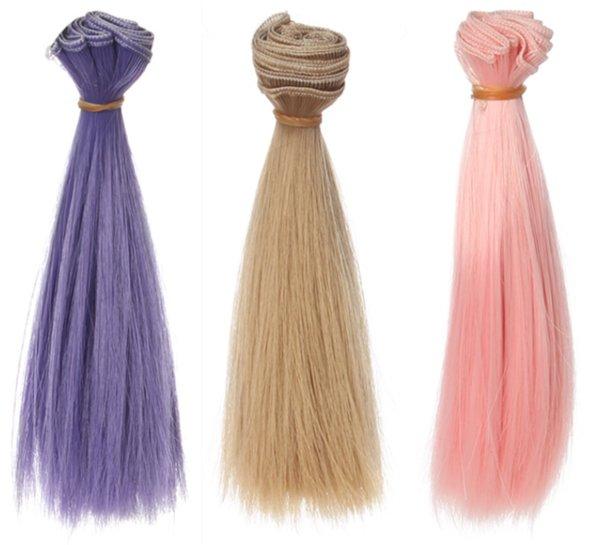 1 pz 15 * 100 cm Accessori per bambole Capelli lisci per parrucca in fibra sintetica Per parrucche per bambole Filo ad alta temperatura