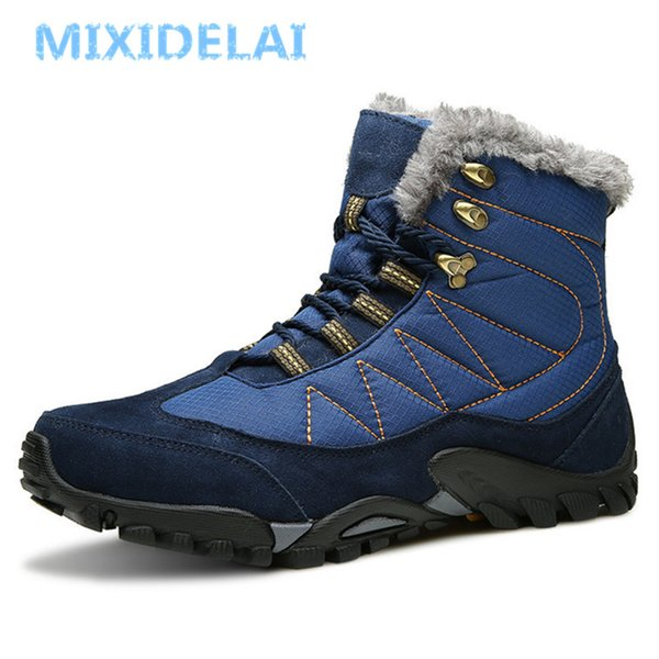 MIXIDELAI 2018 Winter Warm Fur Snow Boots Male Shoes For Men Adult Fashion Cow Suede Walking Work Safety Ankle Footwear SneakersMX190907
