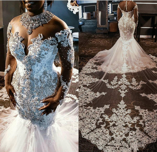 best selling Sheer Mesh Top Lace Mermaid Wedding Dresses 2019 Tulle Lace Applique Beaded Crystals Long Sleeves Wedding Bridal Gowns with detachable train
