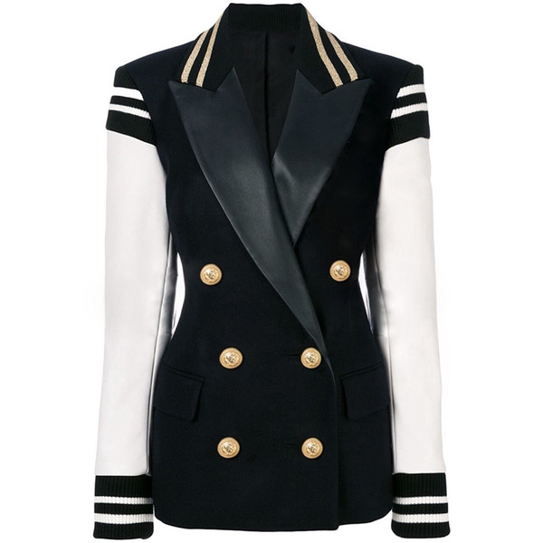 TOP QUALITY Newest Fashion 2019 Designer Stylish Blazer per Ladies Leather Patchwork Giacca monopetto Varsity doppio petto