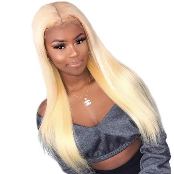 Peruvian Human Hair Straight Lace Front Wig Glueless 613 Blonde Full Lace Wig Bleached Knots with Baby Hair Ping
