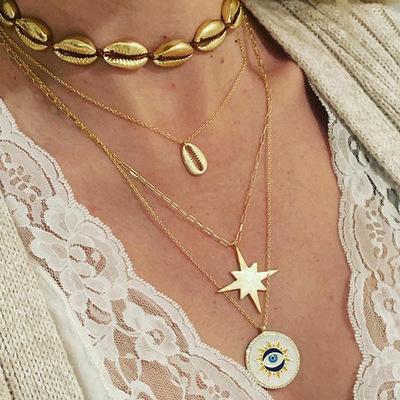 Mode mehrschichtige muschelschale halskette anhänger böhmischen kette muschel strand leichte halskette choker für mutter frauen halsketten m57y