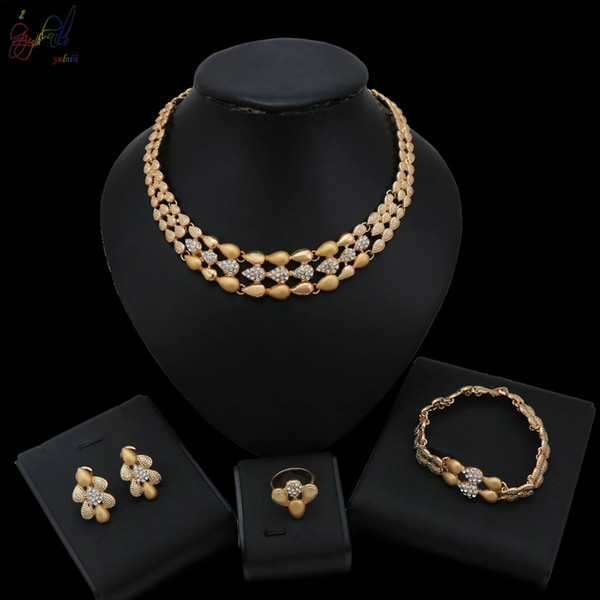 2019 Yulaili Simple Design African Jewelry Gold Color Crystal High