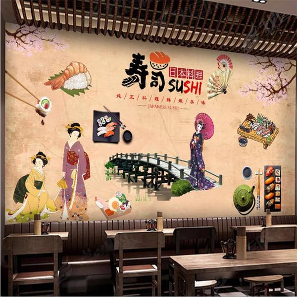 Acheter Nostalgique Vintage Cuisine Japonaise Boutique Sushi Restaurant  Décor Industriel Papier Peint 3D Fond Jaune Chaud Mural Papier Peint De  $35.88 ...