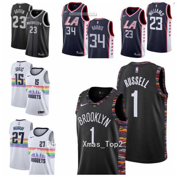 best service d931c ceda1 2019 New City Jerseys Basketball Jersey 1 D'Angelo Russell 27 Jamal Murray  15 Jokic 23 Lou Williams 34 Tobias Harris 23 Blake Griffin Groom And Bride  ...