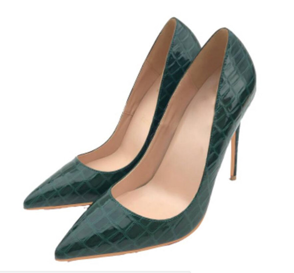 new style green crocodile-stripe pointed slim-heeled women's high-heeled shoes large size 44 nightclub dance dress party shoes 8cm 10cm 12cm