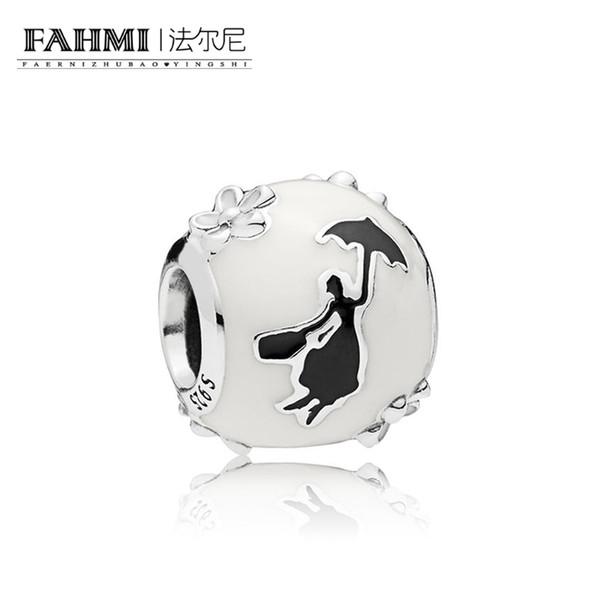 FAHMI 100% 925 Sterling Silver 797510ENMX Fairy Silhouette Charm Beaded Original Jewelry Women's Wedding Holiday Charming Gift