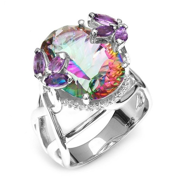 Nuevo oro blanco incrustaciones de color del arco iris de color piedras preciosas anillos para las mujeres 925 chapado en plata circón anillo de compromiso de boda SJ