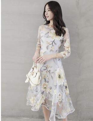 Robes De Broderie Des Femmes De La Mode Des Femmes Floral Robes Imprimées 2019 Nouvelle Arrivée Brief Dames Sept-quarts Manches Chemises
