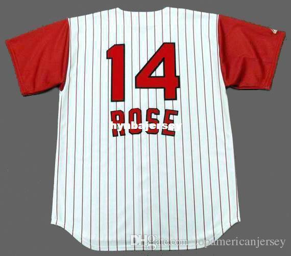 Günstige Custom PETE ROSE Cincinnati Genäht 1960 Majestic Vintage Home Baseball Jersey Retro Herren Trikots Laufen