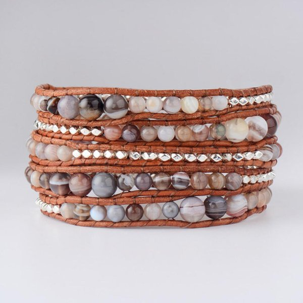 Botswana Bracelet Natural Stone Silver Plated Beads 5 Strands Leather Rope Bracelets Exclusive Bohemia Wrap Bracelet