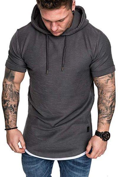 Fashion Designer Hooded Mens Tshirts Sports Solid Short Sleeved Homme Tops Summer Mens Clothing