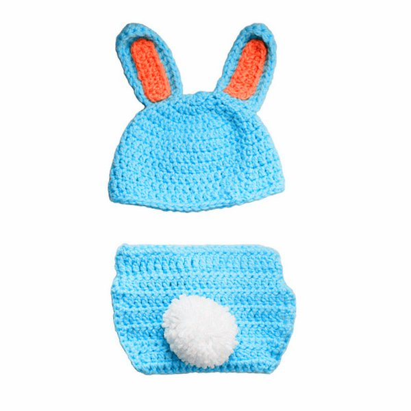Adorable Newborn Blue Easter Bunny Outfit,Handmade Crochet Baby Boy Girl Rabbit Animal Hat and Diaper Cover Set,Infant Toddler Photo Prop