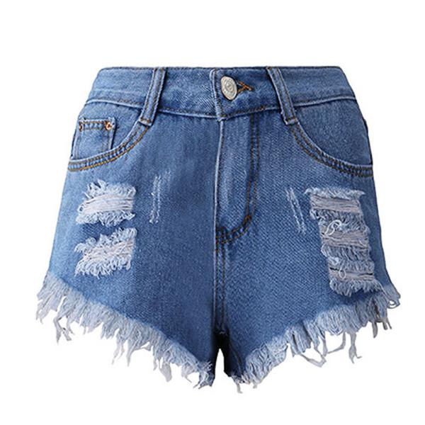 Fashion Women Summer High Waisted Broken Short Jeans Hot Pants Ripped Jeans For Women Button Denim Calca Feminina 20