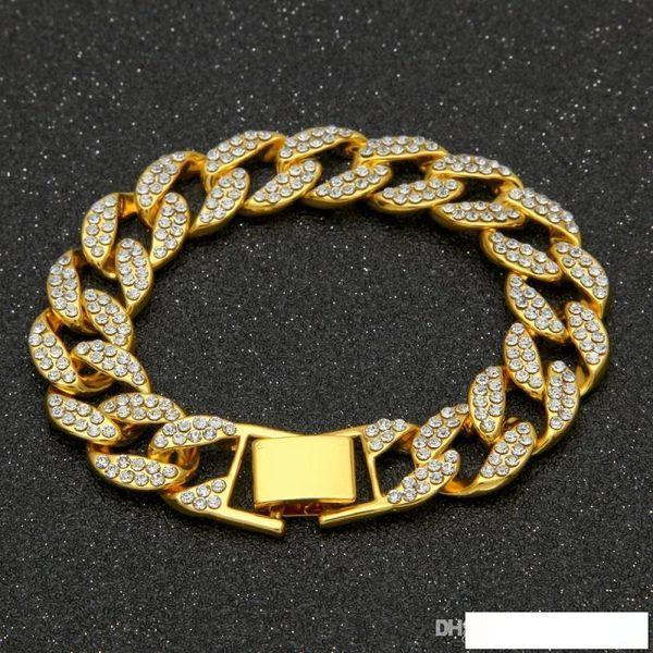 Catena di Hip Hop del braccialetto di oro Uomini per Gioielli uomo nuovo Mens Bracciali fuori ghiacciato Men Bracciale 20 millimetri bianco zircone gioielli
