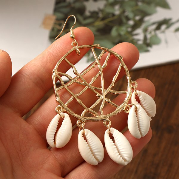 Vintage Irregular Shell Dangle Earrings For Women Geometric Drop Earring DIY Bohemian Cowary Big Circle Party Jewelry Mujer Gift