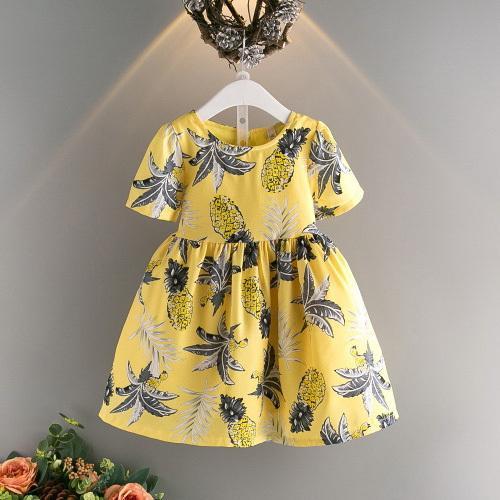 Meninas verão vestidos casuais crianças o-pescoço manga curta abacaxi impresso vestido amarelo criança princesa roupas crianças roupas