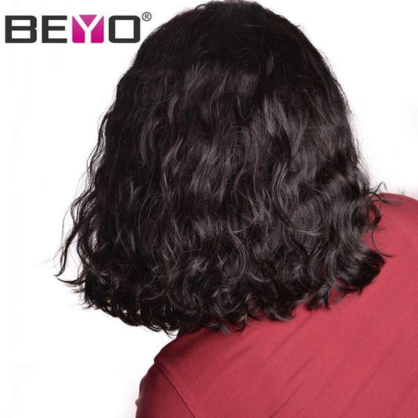 Brésilienne Vague Naturelle Courte Bob Perruque 13X6 Perruques de Cheveux Humains Avant de Lacet Pour Les Femmes Noires 150 Densité Pré Épilée Naturel Hairy Remy Beyo