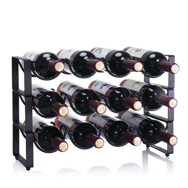 Modern Simple Superposition Creative Wine Rack Ornaments Wine Bottle Holder Wine Cabinet Iron Hot sales