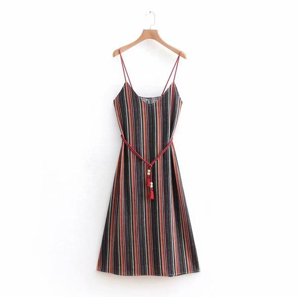 Women's Striped Bohemian Spaghetti Strap Dress Tie Waist Sleeveless Swing Mini Dress
