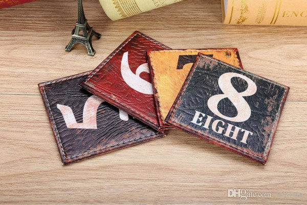 Wholesale-LINKWELL 10x10cm Set of 4 Retro Numbers Colorful PU Leather Bar Coaster Cup Holder Drink Placemat Mat in Black Red Yellow Green