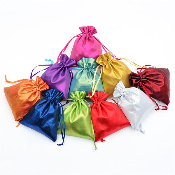 4 размера Атласные Мягкие Шелковые Мешки Drawstring Сумки Drawstring Свадьба Хранения Ювелирных Изделий шелковый Подарок Мешок Упаковка конфеты печенье мешок