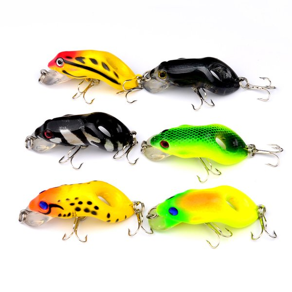 Mixed 6 Color 5.5cm 8.8g Frog Hard Baits & Lures 6# Hook Fishing Hooks Fishhooks Artificial Plastic Bait Pesca Accessories