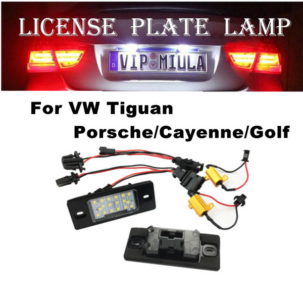 top popular License Plate Light For V W Tiguan Porsche Cayenne Golf White Color Car LED Accessories Light Bulb Size 78x32x28mm 2021