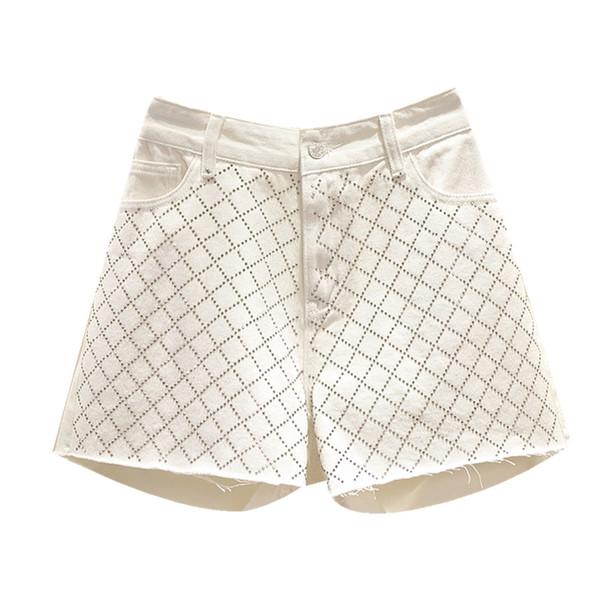 Shorts en jean d'été pour les femmes gland losange rivet lâche taille haute jambe large harem punk style femme boyfriend jeans plus la taille