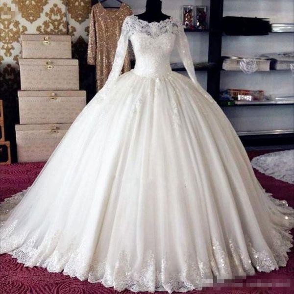Weißer Tüll mit langen Ärmeln Hochzeit Ballkleid geschwollene Prinzessin Braut Maxi Kleider in Petticoat Custom Made High Quality Braut Ballkleid
