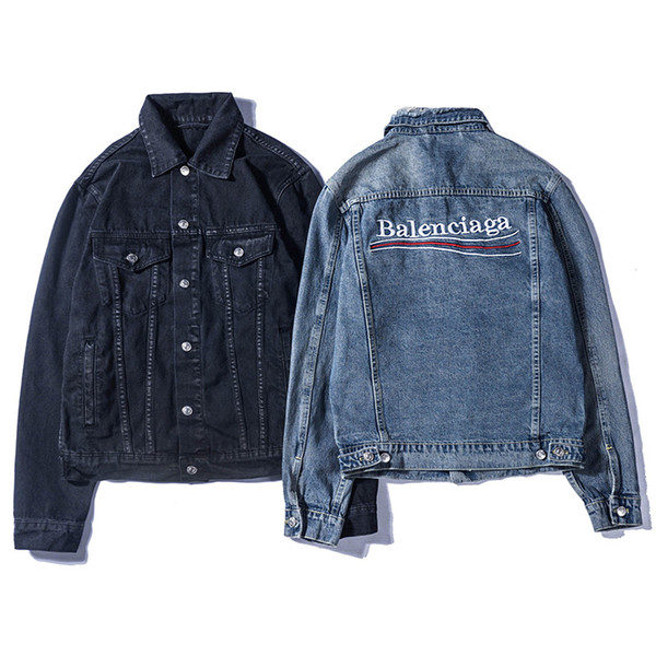 Homens jaquetas de marca de grife moda carta jaqueta jeans homens e mulheres estilo vintage selvedge jean casacos marca clothing jaqueta jeans